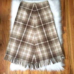 J Crew Plaid Wool Fringe Blanket Midi Skirt 4